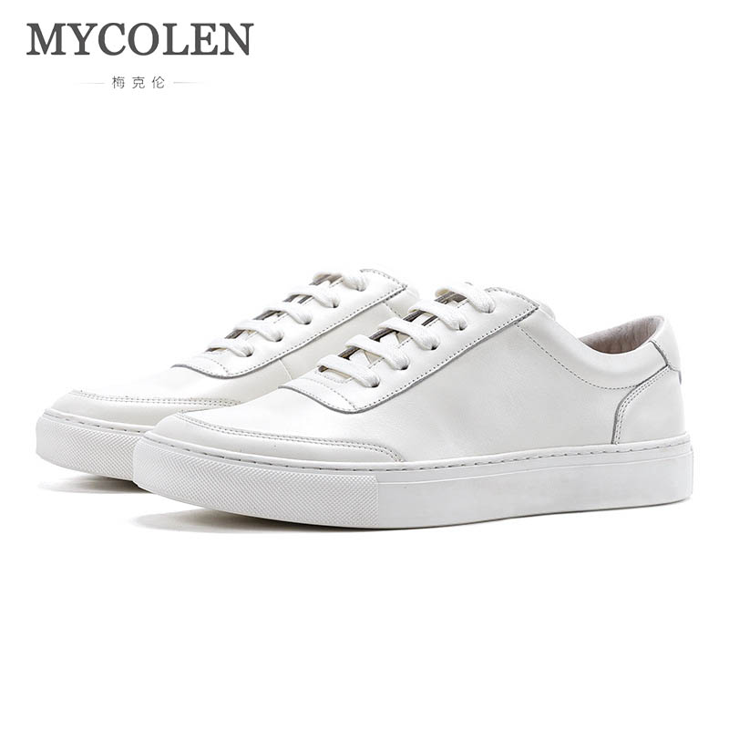 MYCOLEN Mens Shoes Men Flats Breathable Sneakers Fashion Brand Flat Shoes Lace-Up Mens Leisure White Shoes Walking Sneakers