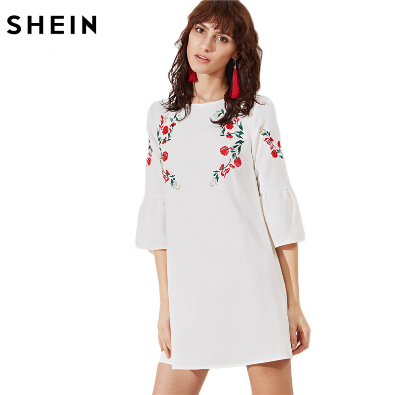 SHEIN White Bell Sleeve Symmetric Embroidered Tunic Dress,2017 Autumn Fashion Vintage Women Dresses,Smart-Casual Brief Clothing