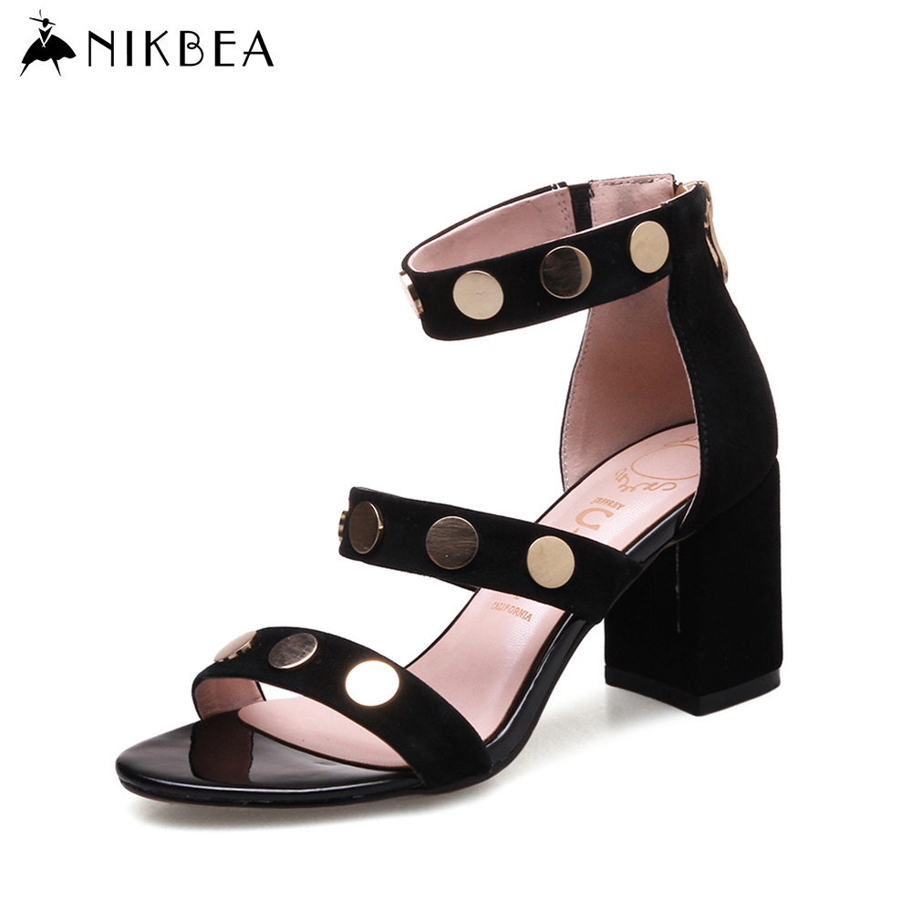 ФОТО NIKBEA 2017 Concise Nude Suede Genuine Leather  High Heels Sandals Women Ankle Strap Summer Dress Shoes Woman Open Toe Sandals
