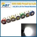 500 unids Ba9s blanco caliente del envío libre #44 #47 Pinball llevó AC 6.3 V #44 pinball smd5050 led bombillas de luz sin parpadeo fantasma contra