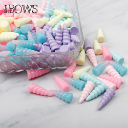 IBOWS 9*25mm Flat Back Resin Mini Unicorn Horn Resins DIY Jewelry Necklace Hair Accessories Resin Cabochons Decoration