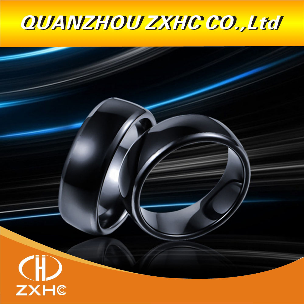 13.56MHZ RFID Black Ceramics Smart Finger Ring Wear NFC Natg216 Chip For Men Or Women