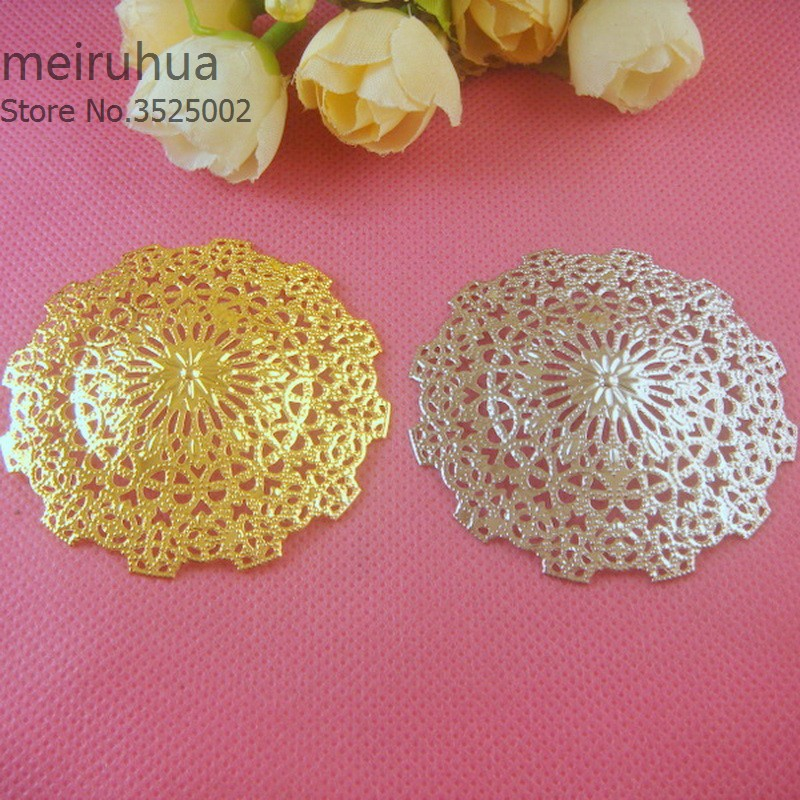 20 pieces/lot 56mm metal Filigree Flower Wrap Connector Jewelry DIY Components