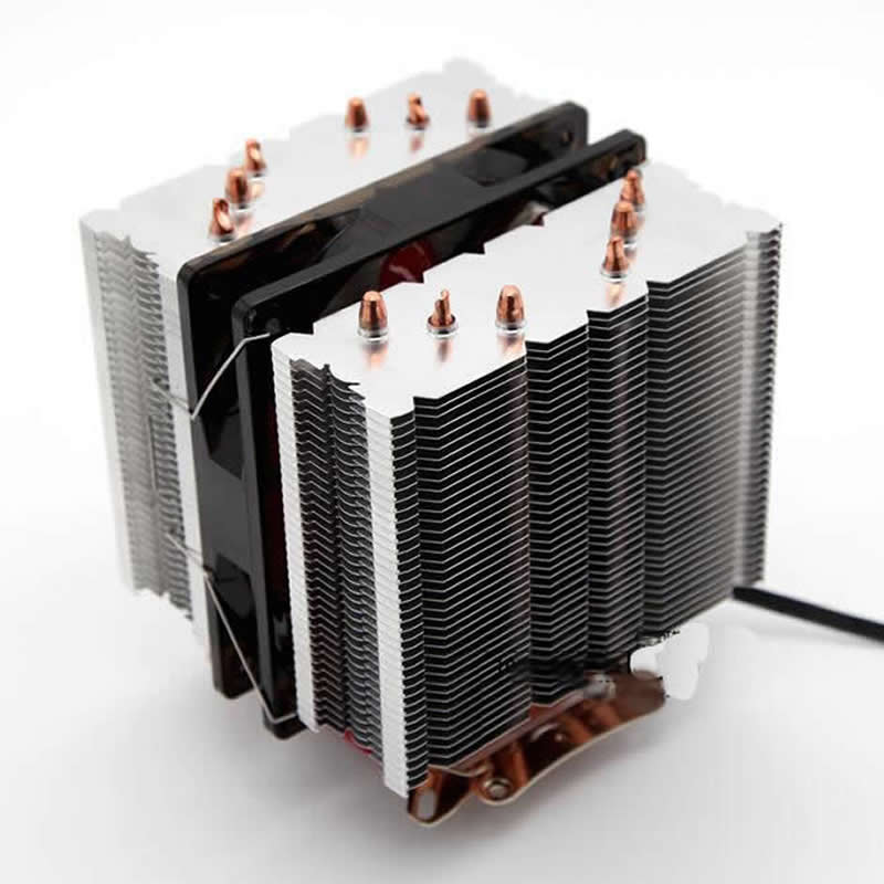 AVC CPU cooler 6 heatpipe dual tower dual fan 12cm 2 fan 4pin PWM cooling for