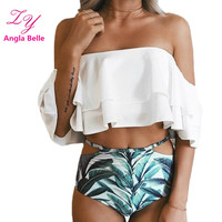 Angla Belle Swimsuit Ruffle Bikini Set Swimwear Women Swimming Suit For Women Off Shoulder Beachwear Cute