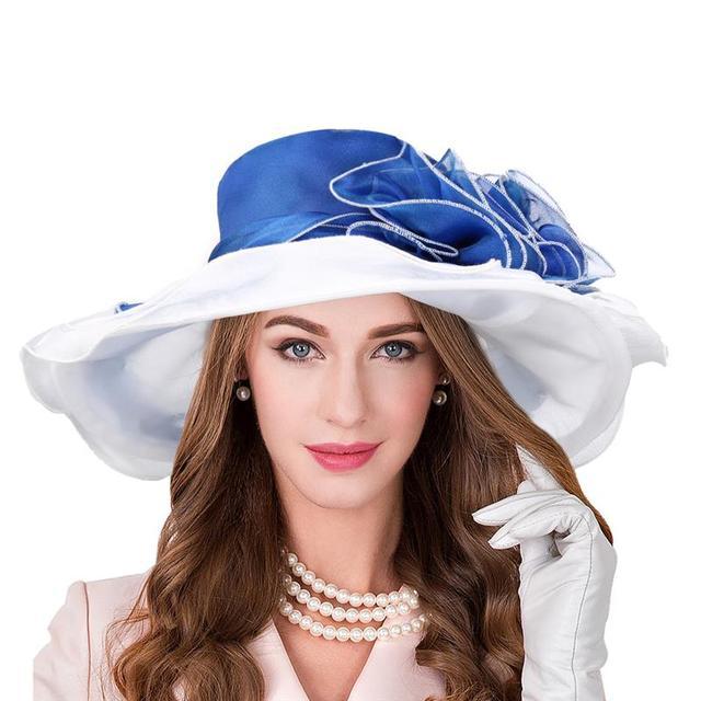 b5143ca67fc91 Vbiger Women Organza Sun Hat Chic Organza Beach Sunhat Foldable Wide Brim  Portable Bowler Sun Cap