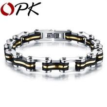 OPK 22.5 cm * 9mm de Silicona de Acero Inoxidable Pulsera de Cadena de Bicicleta de La Motocicleta Del Motorista Hombres Pulseras Para Hombre Pulseras de Joyería GS3136