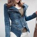 Mujeres de la moda Denim Chaqueta de la Capa Fresca Poder Tachonado Con Muesca Solapa Más Tamaño Jeans Tuxedo Escudo Chaquetas M22450