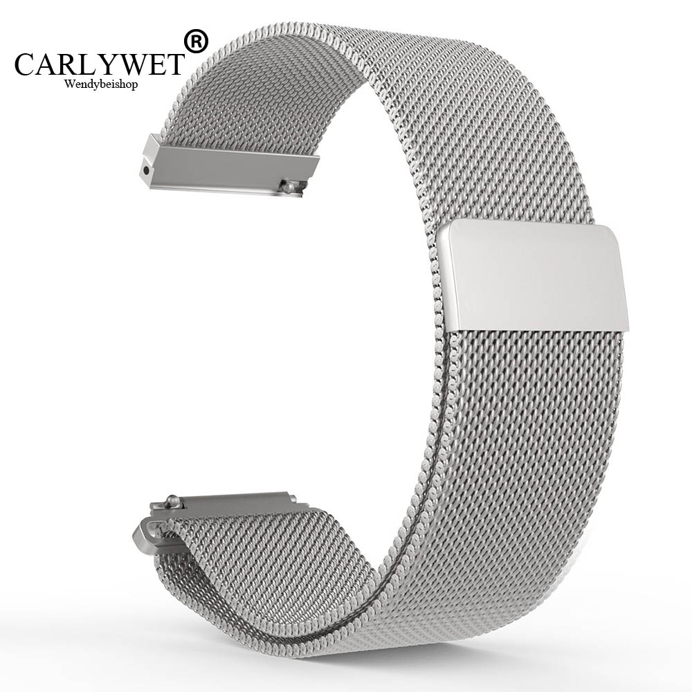 CARLYWET 16 18 20 22 23mm Hot Sell Black Silver Rose Gold Blue Mesh Milanese Magnetic Closure Replacement Wrist Watch Strap Belt 16 18 20 22 23mm silver black gold rose gold blue mesh milanese loop steel bracelet wrist watch band strap magnetic closure