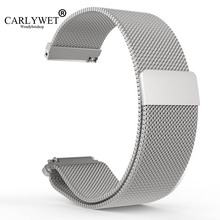 CARLYWET 16 18 20 22 23mm Hot Sell Black Silver Rose Gold Blue Mesh Milanese Magnetic Closure Replacement Wrist Watch Strap Belt