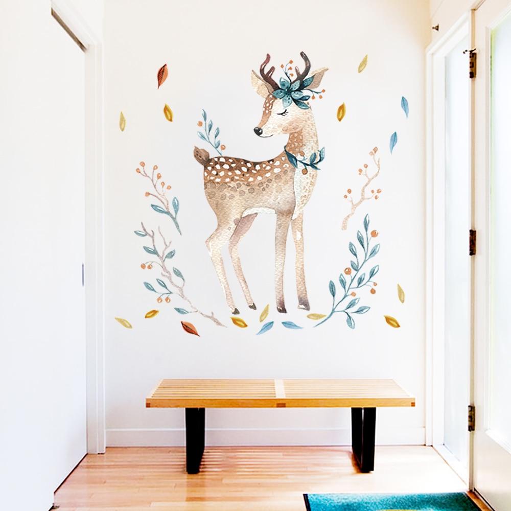 Deer wall sticker for kids room living room door s...