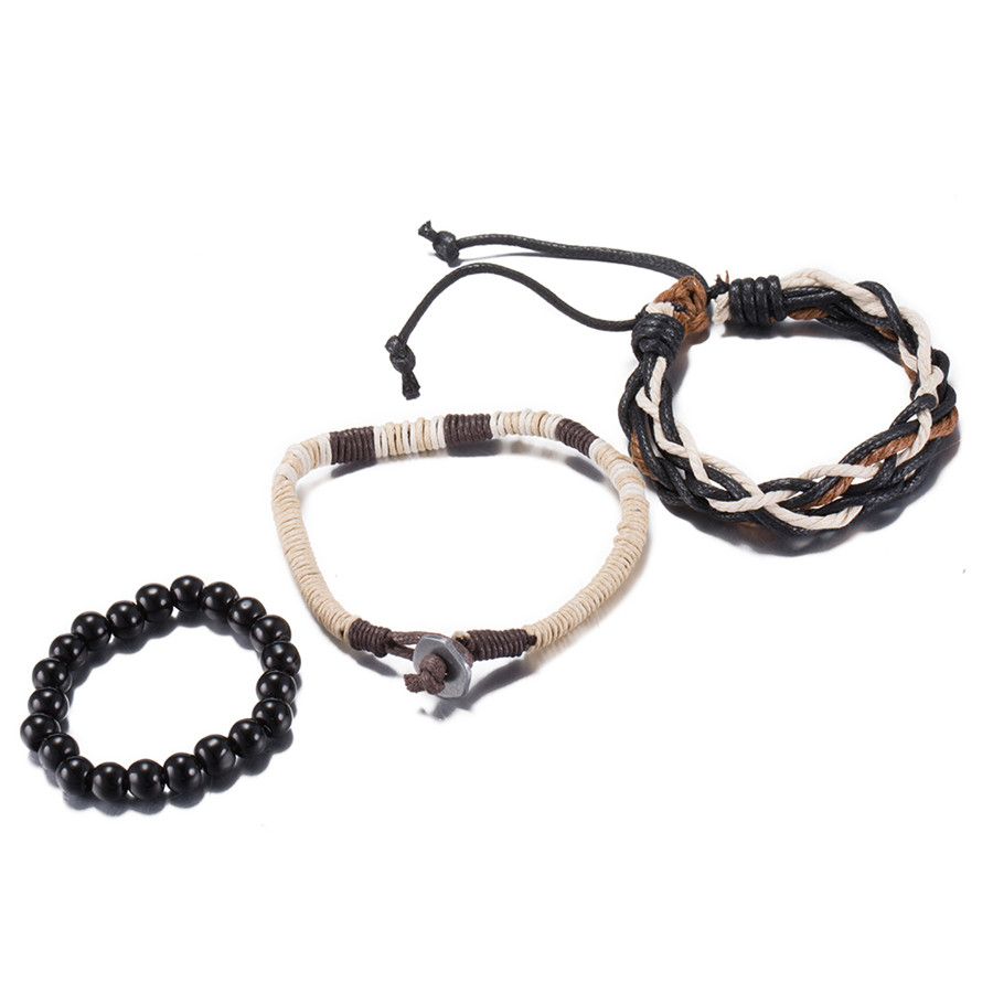 Braided leather bracelet beads & charm bangles fashion jewelry for women cool party style top quality cheap wholesale