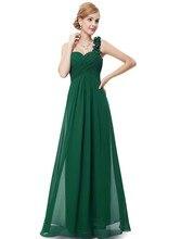 2015 Pretty A-line Eine Schulter Lange Chiffon Abendkleid Kleid Sleeveless Abend-formales Kleid Vestido De Noche Neue