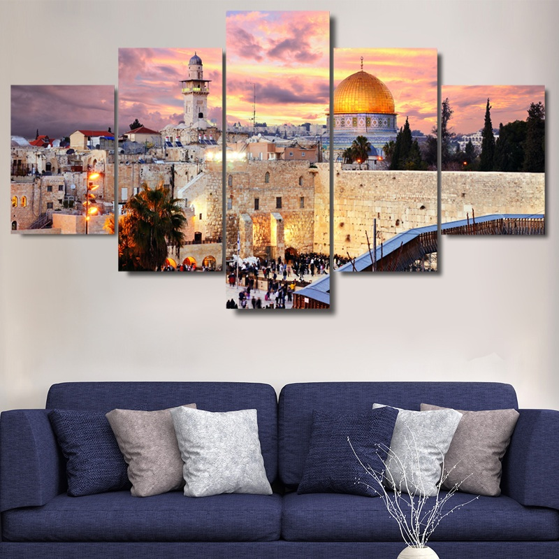 5 pieces jerusalem modular picture modern home wall for Home decoration pieces