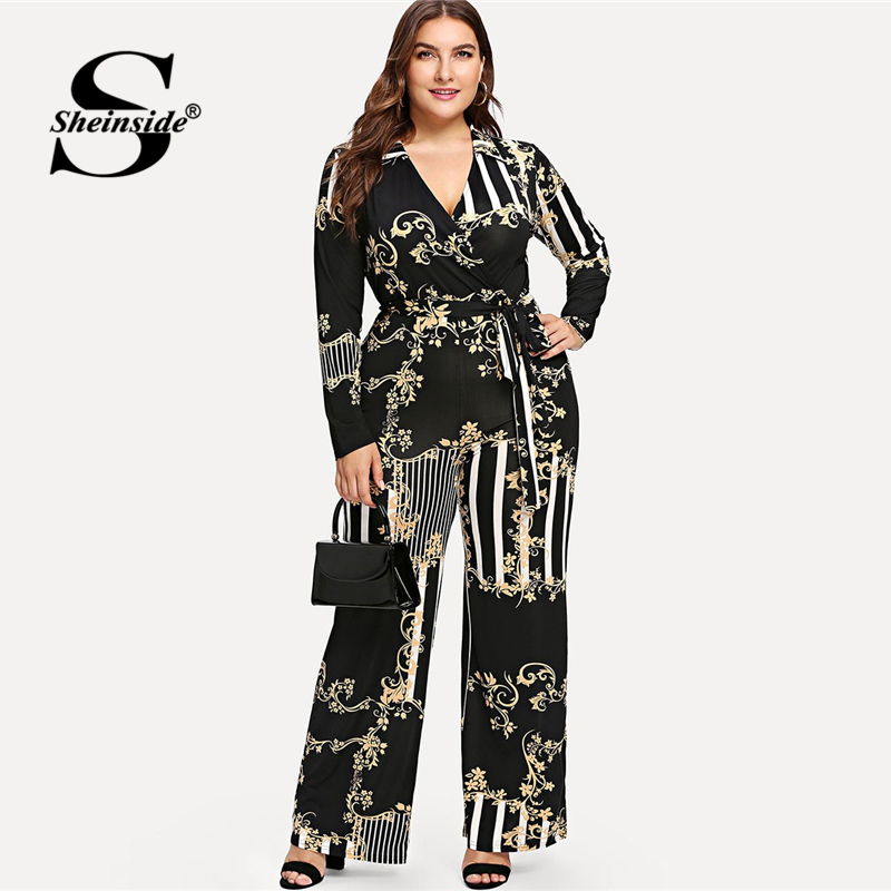 Sheinside Plus Size Vintage Stripe Print Wrap Jumpsuit 2019 Spring Elegant V Neck Belted Jumpsuit Ladies Casual Print Jumpsuits