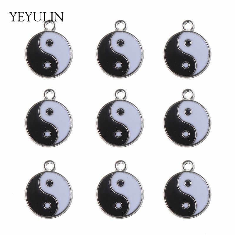 Модный эмалевый кулон Taji Yin Yang сплетни для мужчин и женщин, ожерелье и подвеска, ювелирные аксессуары, 10 шт, 18 мм