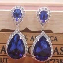 fashionable Royal Blue rhinestone dangling earring drop shape crystal women fashion jewelry yellow/blue/red earrings