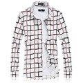 2017 novo de alta qualidade dos homens camisa xadrez Moda casual elástica longa-camisa de manga comprida camisa de vestido de negócios de Grande Porte dos homens de roupas