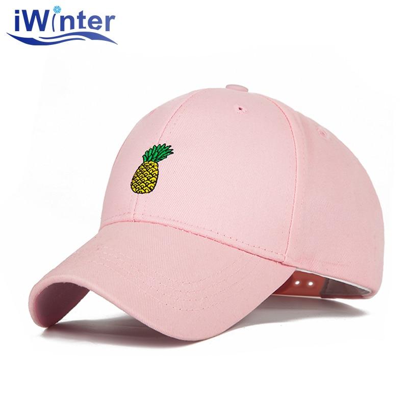 7699b396c28 IWINTER Pineapple Embroidered Baseball Cap For Men Women Snapback Hat Funny  Fresh Fruit Hipster Hip Hop Baseball Hat Bone