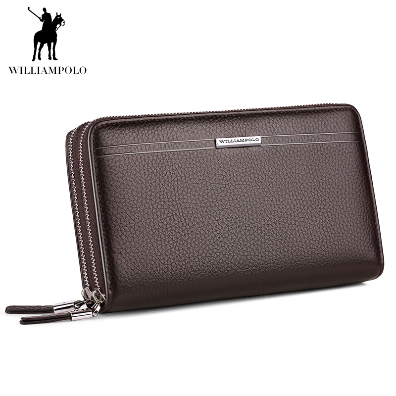 Genuine Leather Big Wallet Men Long Large Capacity Cutch Handbag Double Zipper Casual Luxury Brand WILLIAMPOLO