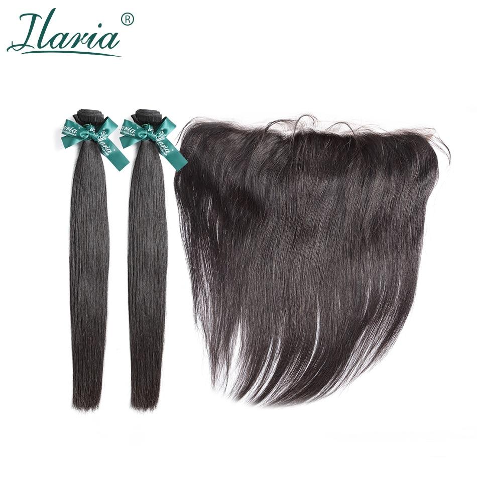 ILARIA HAIR Peruvian Straight Human Hair Bundles With Closure 100% Peruvian Remy Hair 2 Bundles With 13*4 Lace Frontal Closure