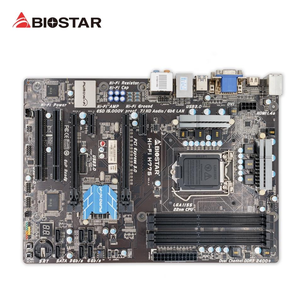 Original BIOSTAR Hi Fi H77S Desktop Motherboard H77 LGA 1155 DDR3 16G SATA3 USB3 0 ATX