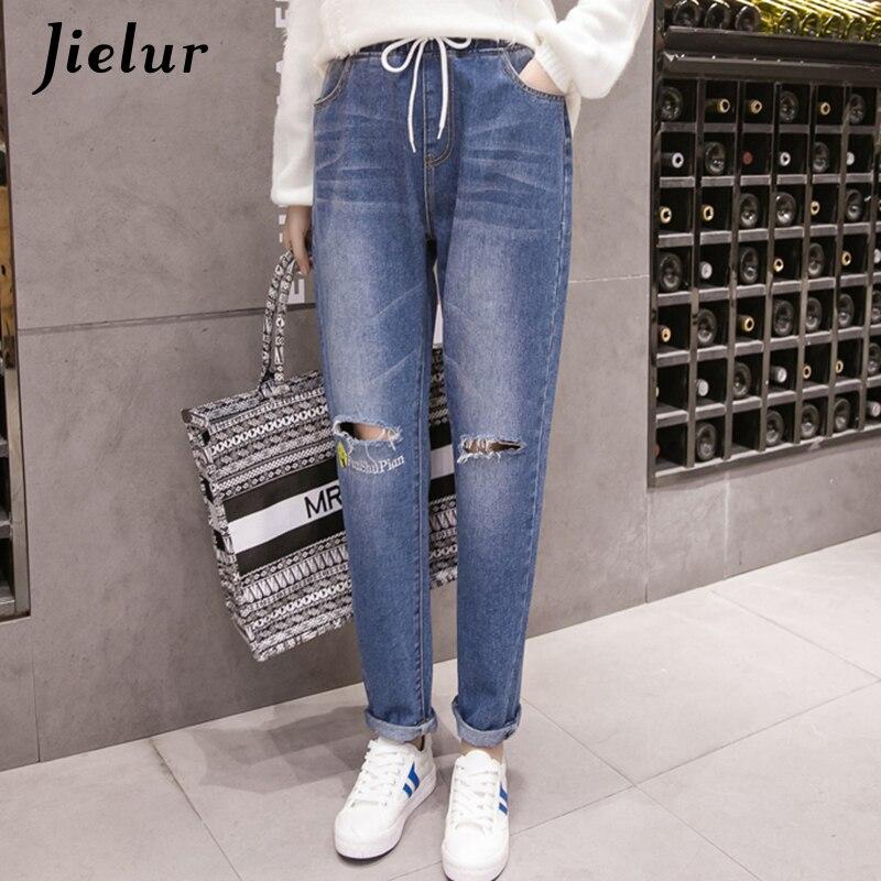 Jielur Boyfriend Fashion Holes Ripped Jeans for Women Funny