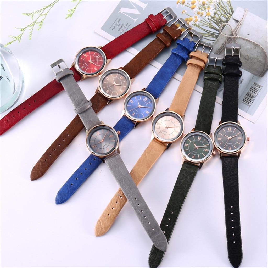 Womens Analog Quarts Watches Quartz Watch High Quality PU Strap Clock Blue Glass Female No Waterproof Wristwatch Drop. 3.27