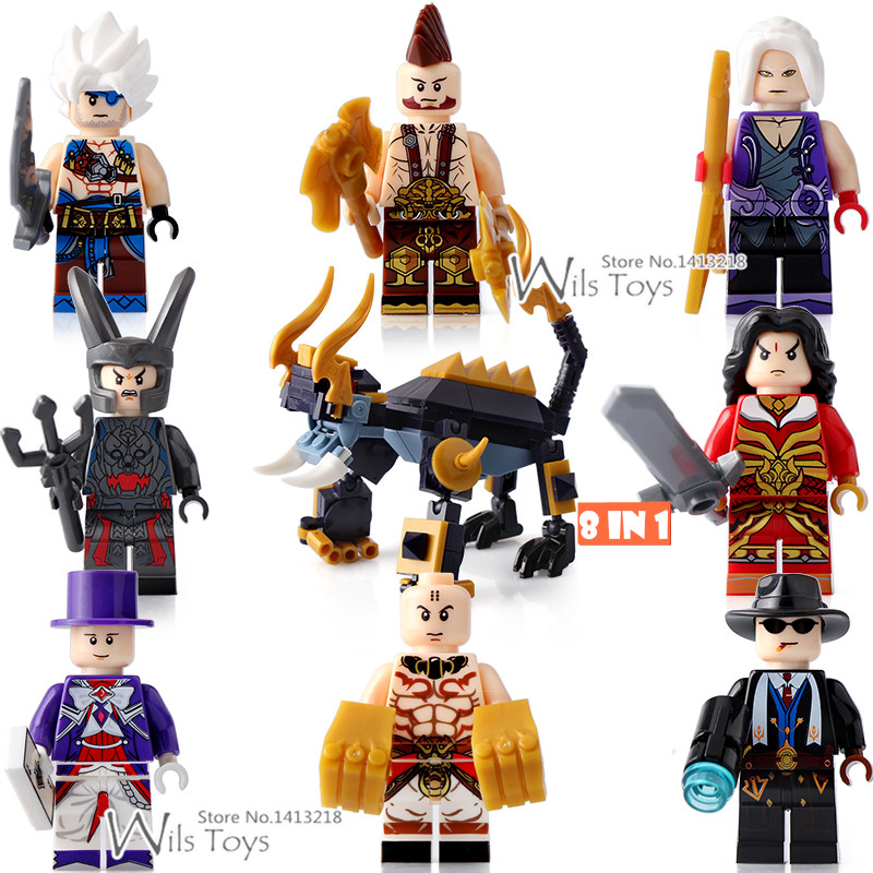 8pcs King of Glory One of China Romance of the Three Kingdoms Anime Building Blocks Figures Educational Toy for children heroes