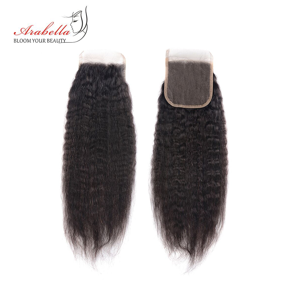 Brazilian Yaki Straight Hair 4*4 Lace Closure Arabella Natural Remy 100% Human Hair Pre Plucked Bleached Knots Closure