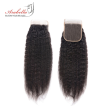 Cabelo reto de yaki brasileiro 4*4 fechamento do laço arabella remy natural 100% cabelo humano pré arrancado nós descorados fechamento