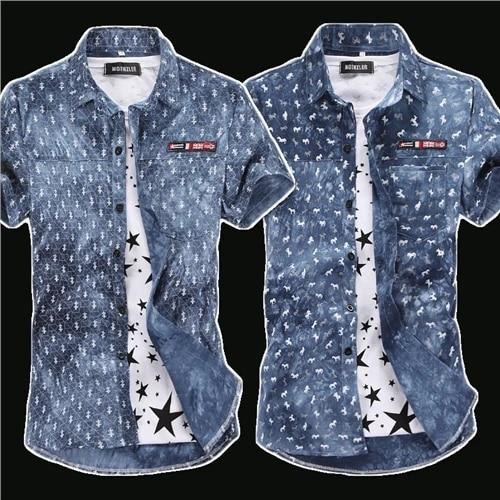Blue /& White Floral Print Denim Short Sleeve Shirt