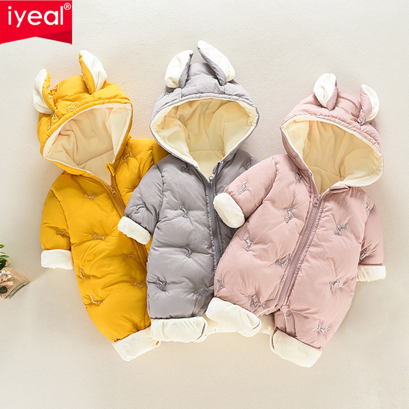IYEAL Winter Bebes Clothes Girls Romper Infant Cotton Flannel Baby Jumpsuit Hooded Baby Clothing Toddler Boys Warm Clothes 0-18M iyeal baby rompers warm soft flannel winter baby clothes cartoon animal 3d ears children girls jumpsuit newborn infant romper