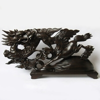 V Dragon Carving Crafts Mahogany Wood Carving Decoration Business Gifts 60cm Large Vigorous Spirit Of The