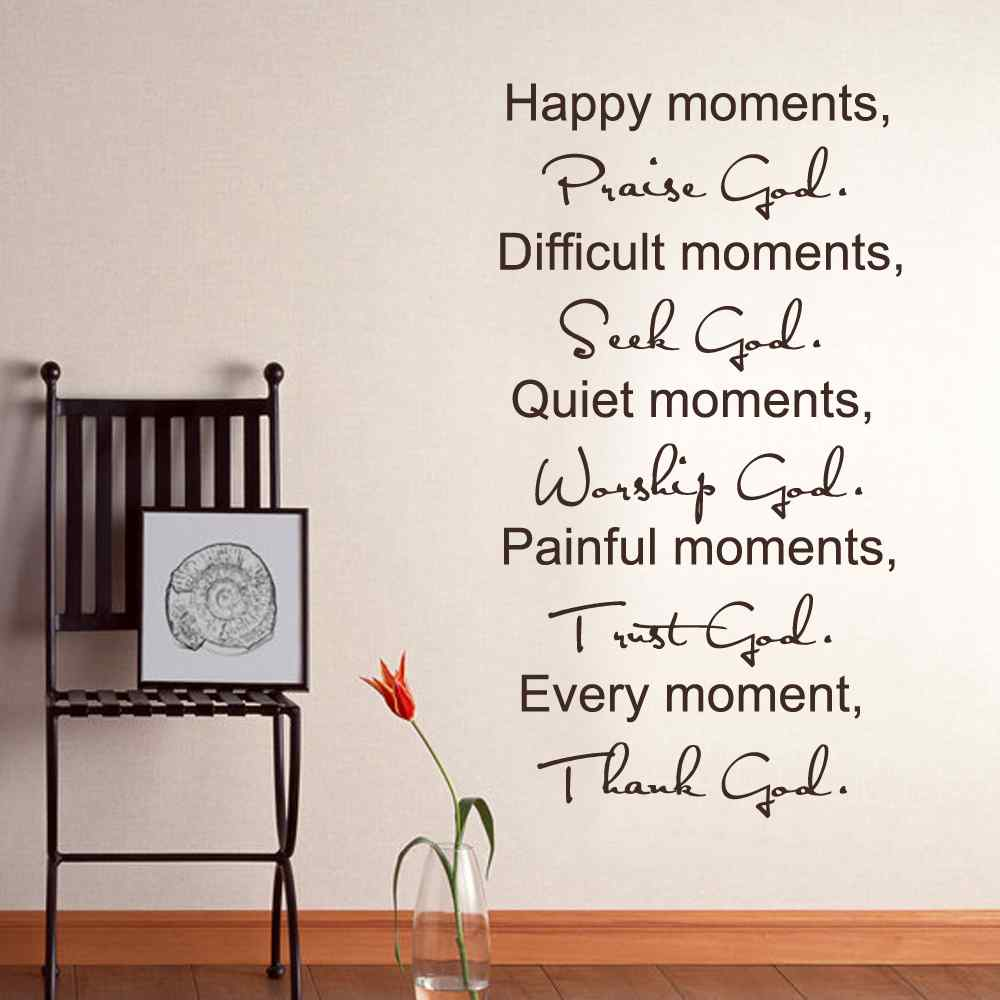 Family Wall Decal Quote Happy Moments Praise God Bible