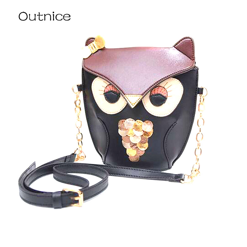 2017 New Hot Small Owl Crossbody Bags Hit Color Mini Single Chain Shoulder Bags Vintage Girls Casual Messenger Bags canta