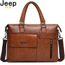 Famoso designer jeep buluo marcas homens maleta de negócios couro do plutônio sacos de ombro para 13 Polegada portátil bolsa viagem grande 6013