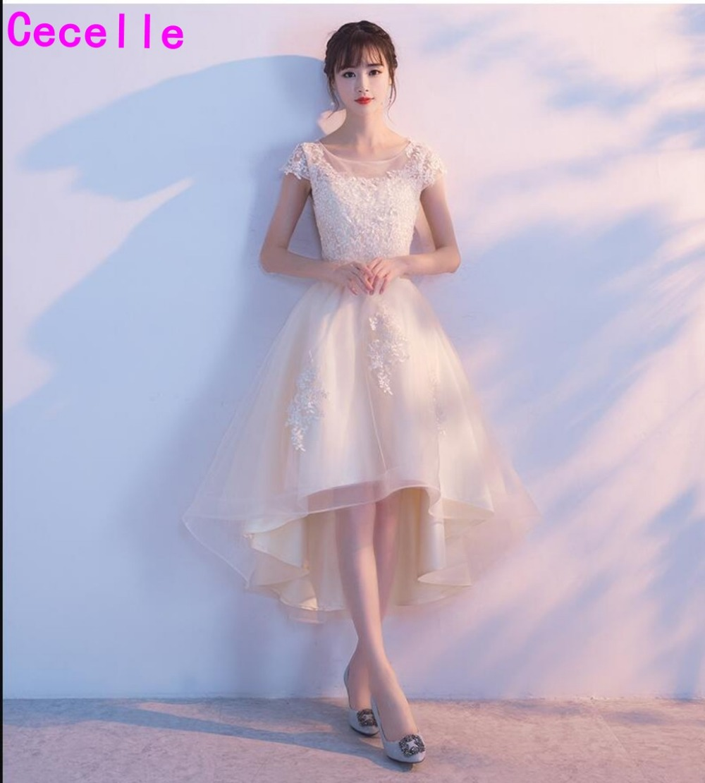Champagne Tulle High Low Short   Cocktail     Dresses   2019 Cap Sleeves Lace Tulle Teens Girls Informal   Cocktail   Prom Party   Dress