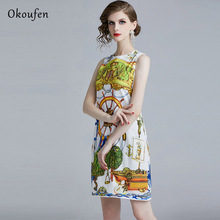 OKOUFEN New Summer Garment 2019 Simple Personality Fashion Round-collar Printed Dress Sleeveless Soft and Comfortable ZX0029
