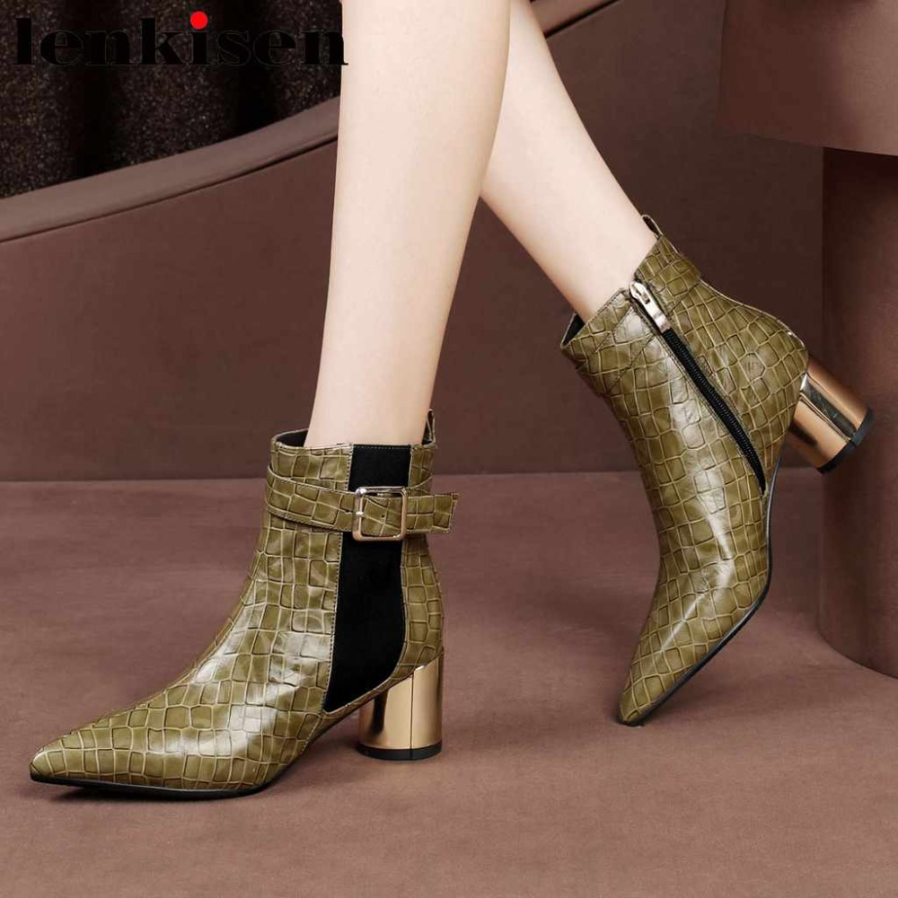 Lenkisen buckle belt plus size real cow leather pointed toe british style movie stars chelsea boots med round heels shoes L52 цена