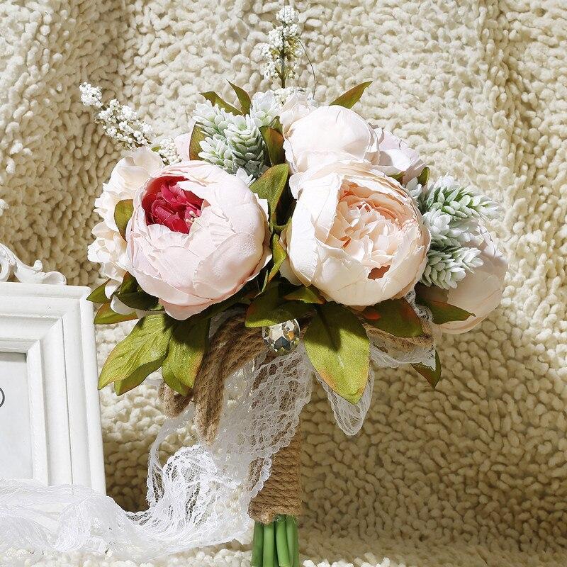 MissRDress романтичный кружевной свадебный букет искусственное Шампанское Свадебный букет деревенские Свадебные цветы для свадебных аксессуа