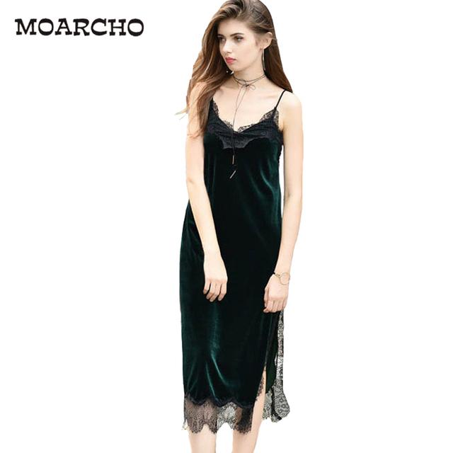 MOARCHO Sexy Black Lace Velvet Cami Dress Slip Backless Spaghetti Strap Long Evening Party Robe Side Split 2017 Velour Dresses