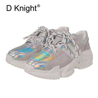 2018 Spring Autumn Shoes Women Casual Shoes Gold Silver Hologram Creepers Flat Heel Platform Shoes Fashion Ladies Harajuku Shoes