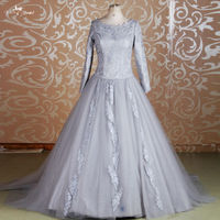 RSE639 Silver Grey Muslim Prom Ball Gown Long Sleeve Quinceanera Dresses