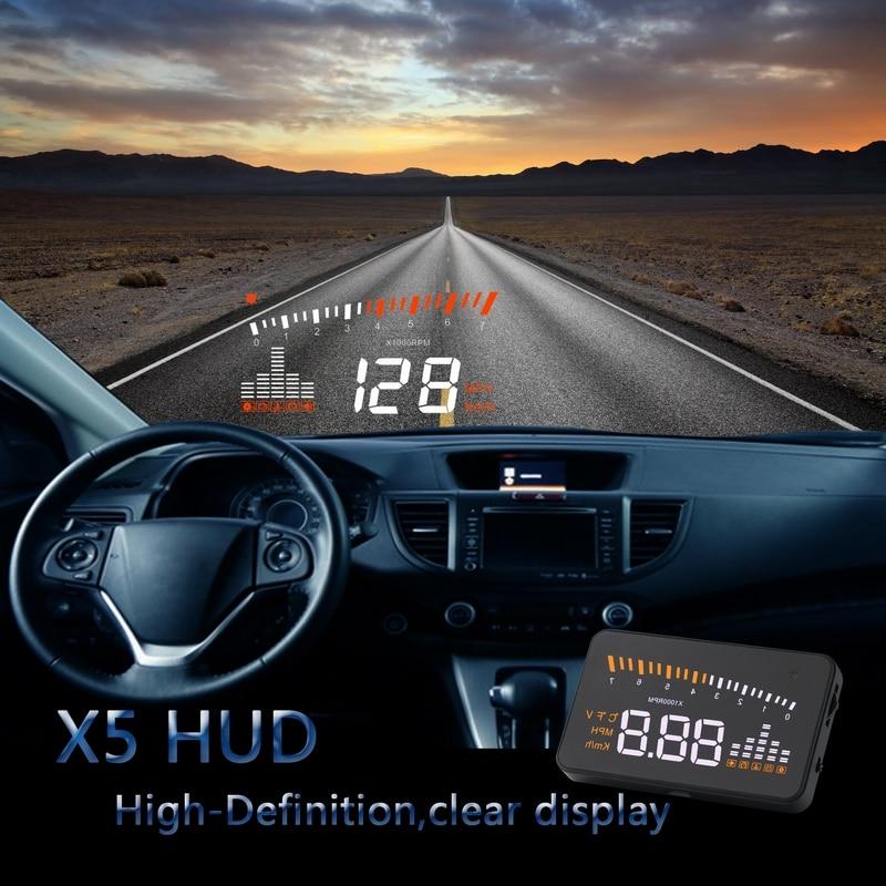 Hot X5 Car Speed Projector OBD2 Head Up Display Auto Windshield Projector OBD 2 HUD Electronics Digital Car Speedometer