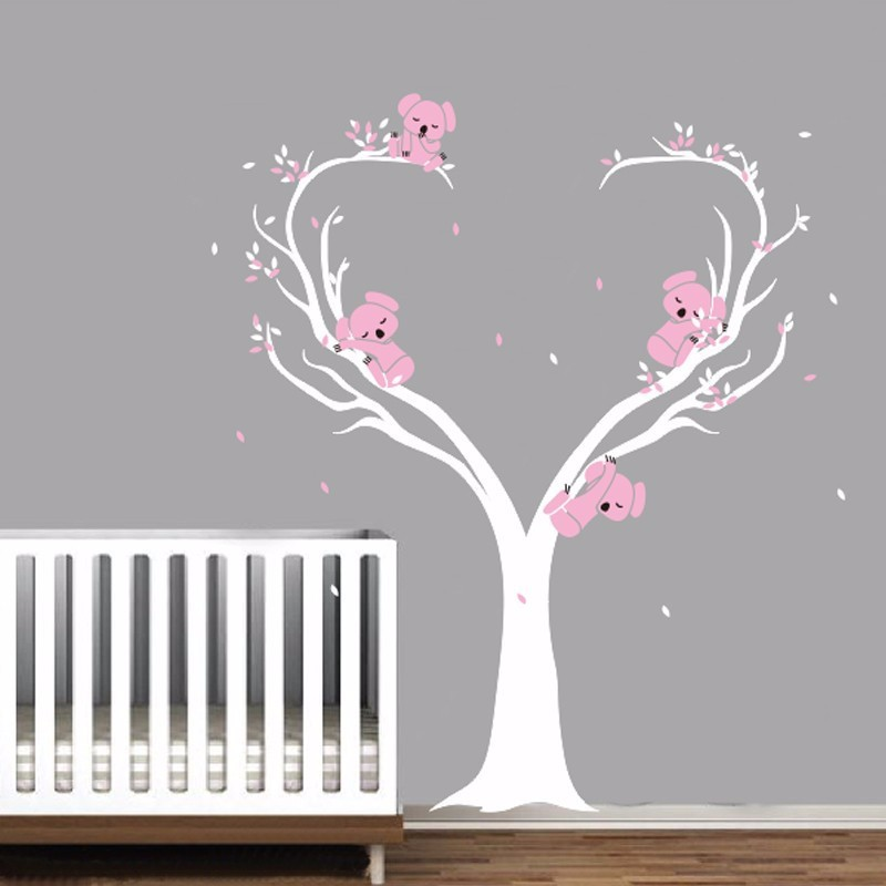 Cute Koalas on Tree Vinyls Wall Decals Nursery Baby Wall Stickers Wall  Decor Kids Room Decor Mural Large Size 200x160cm A216