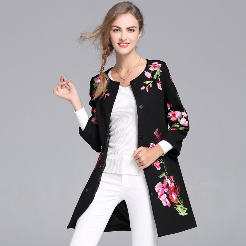 Coat Woman Embroidery-Autumn-Basic-Jacket Female Slim Black Vintage Plus-Size Royal Floral
