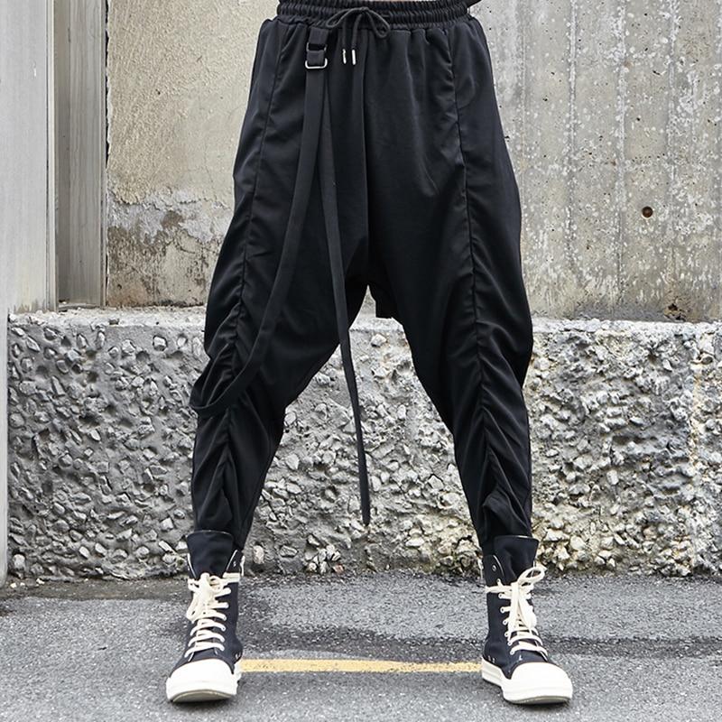 MR-DONOO Men Clothing Fashion Punk Gothic Black Loose Pants Streetwear Hip Hop Harem Pants Japan Style Casual Trousers A303-X030