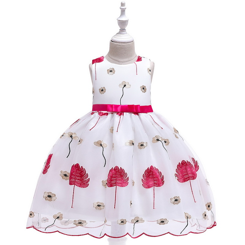 Summer New Kids Girls Floral Leaves Embroidery Princess Tutu Dress Girls Birthday Wedding Theme Party Ball Gown Dress in Girls Costumes from Novelty Special Use