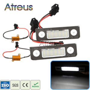 Atreus 2X Car LED License Plate Lights For VW Skoda Octavia 1Z Roomster 5J accessories no error White SMD lamp Bulb car-styling